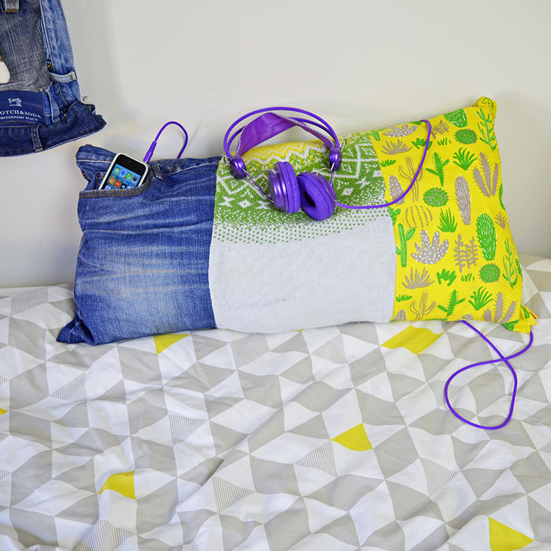 Upcycled Denim iphone pocket pillow - Pillarboxblue.com