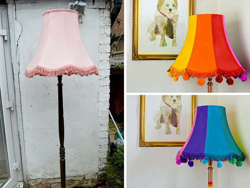 Upcycled floor lamp using spray paints - Pillarboxblue.com