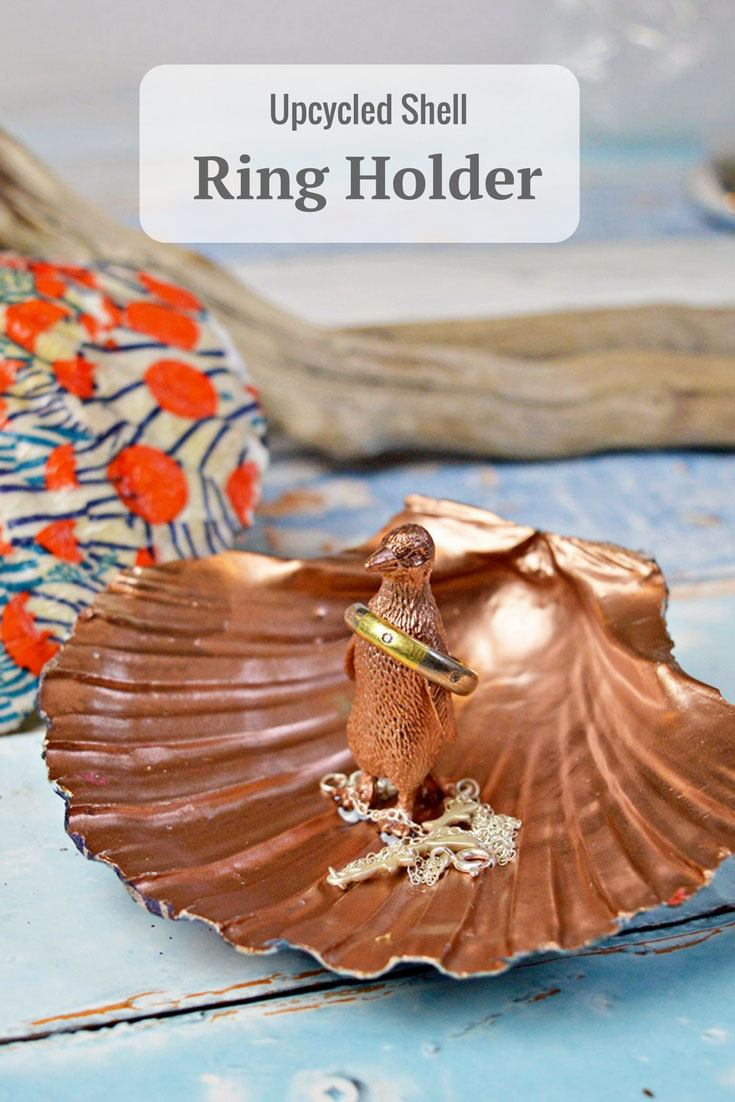 This gorgeous DIY ring holder was made from an upcycled scallop shell.  They make a lovely handmade gift.