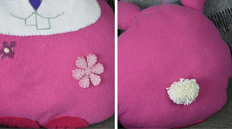 Sweater bunny cushion tail