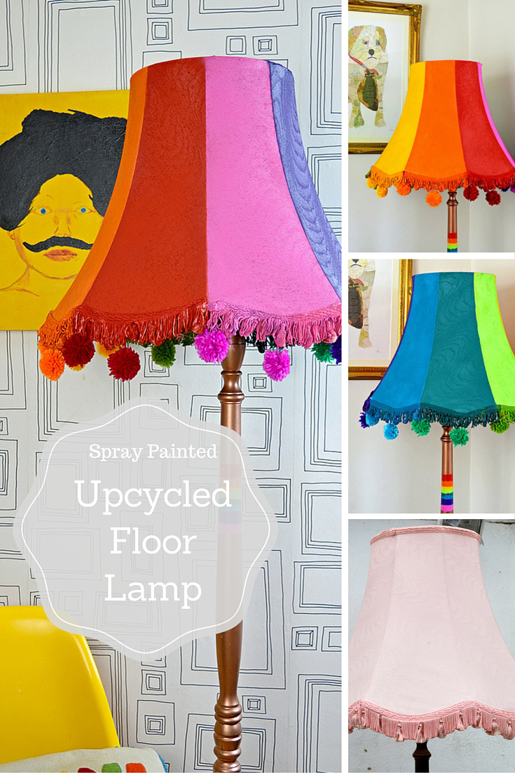 Upcycled floor lamp _ Simple DIY using spray paints to revamp an old dull lampshade into a colourful rainbow.