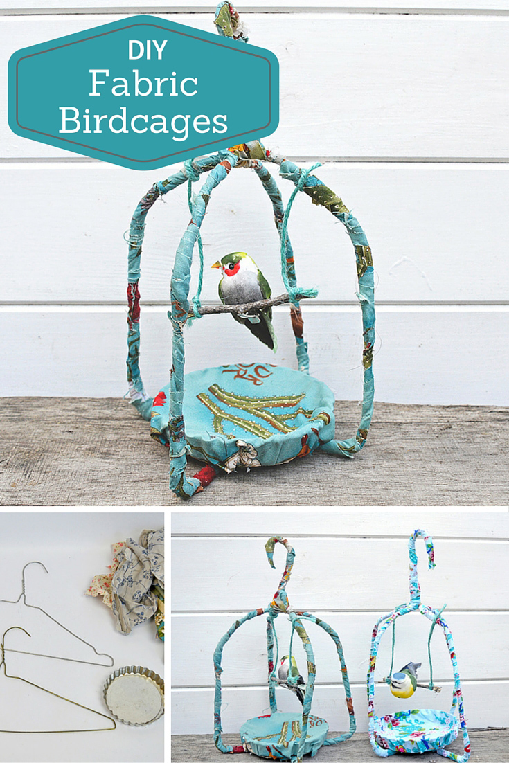 Make these gorgeous fabric birdcages.  All you need is a couple of hangers and some scrap fabric.  Full tutorial.