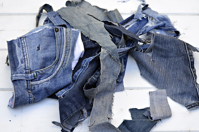 Denim scraps from old jeans
