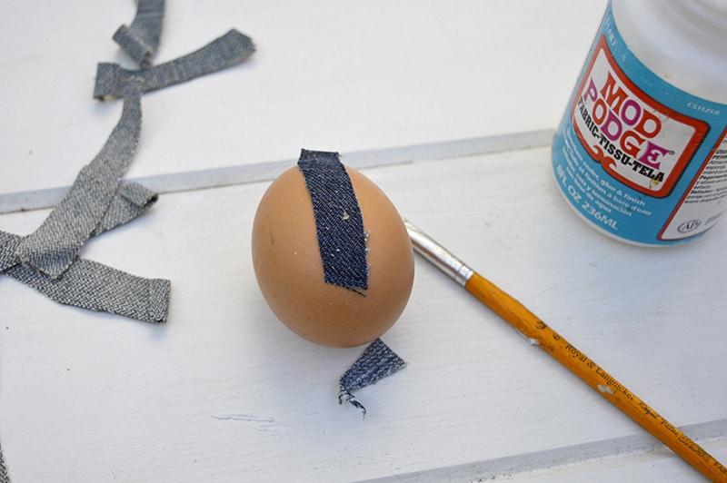 sticking to denim to egg