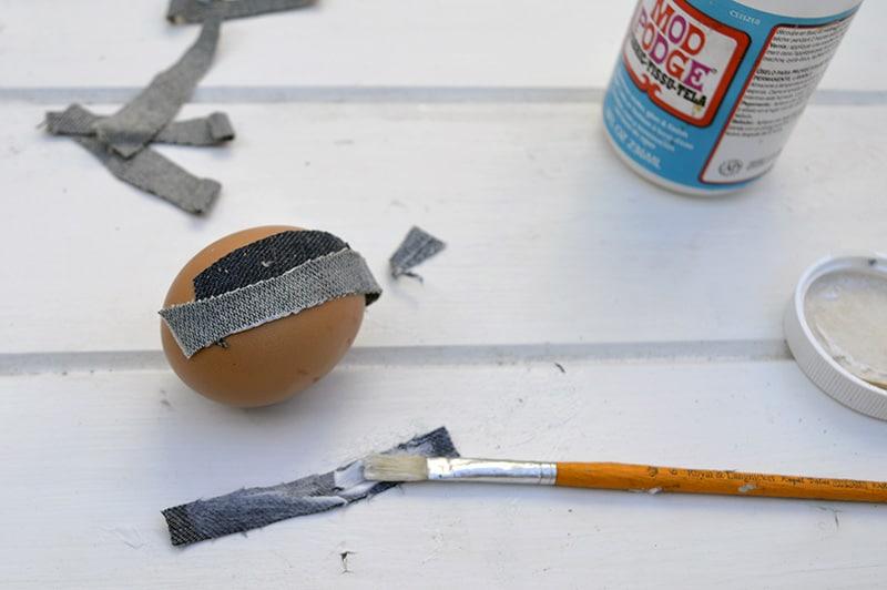 adding more denim to the eggs
