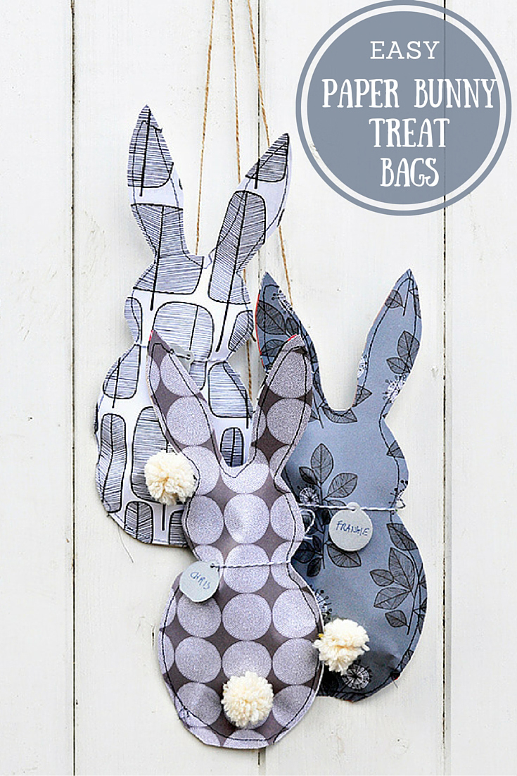 These gorgeous paper bunny treat bags are easy to make and are great for Easter gifts and hunts.  Great for party favours too.