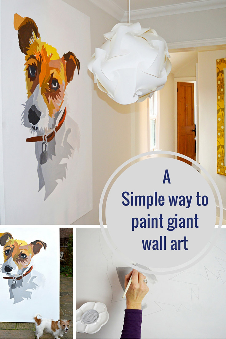 A great tutorial to show you how easy it is to paint your own giant wall art.  It's like painting by numbers.  you could do a portrait of your pet or a loved one.