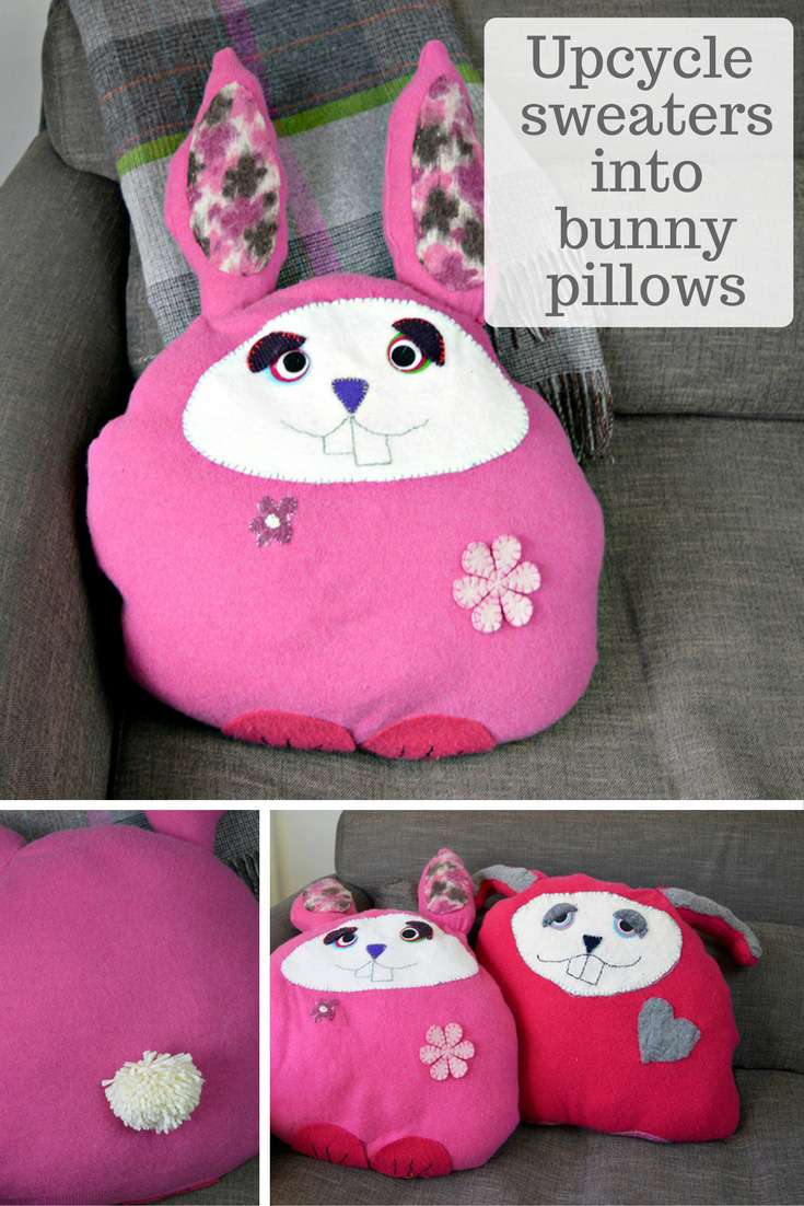 Upcycle your old sweaters into some cute bunny pillows /cushions