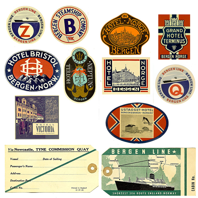 Bergen travel labels for vintage suitcase upcycle