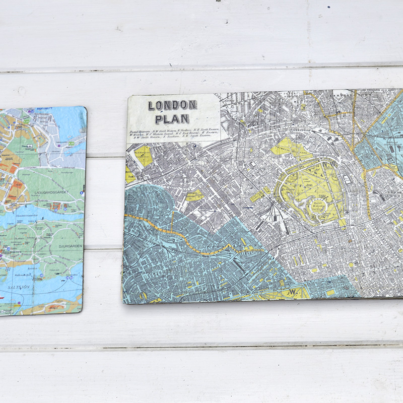 Map table mats - A great upcycle from Pillarboxblue