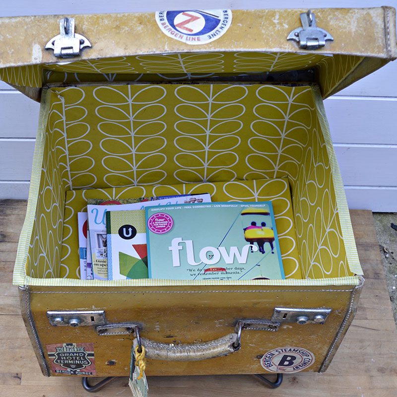 Upcycled vintage suitcase side table and storage - Pillarboxblue.com