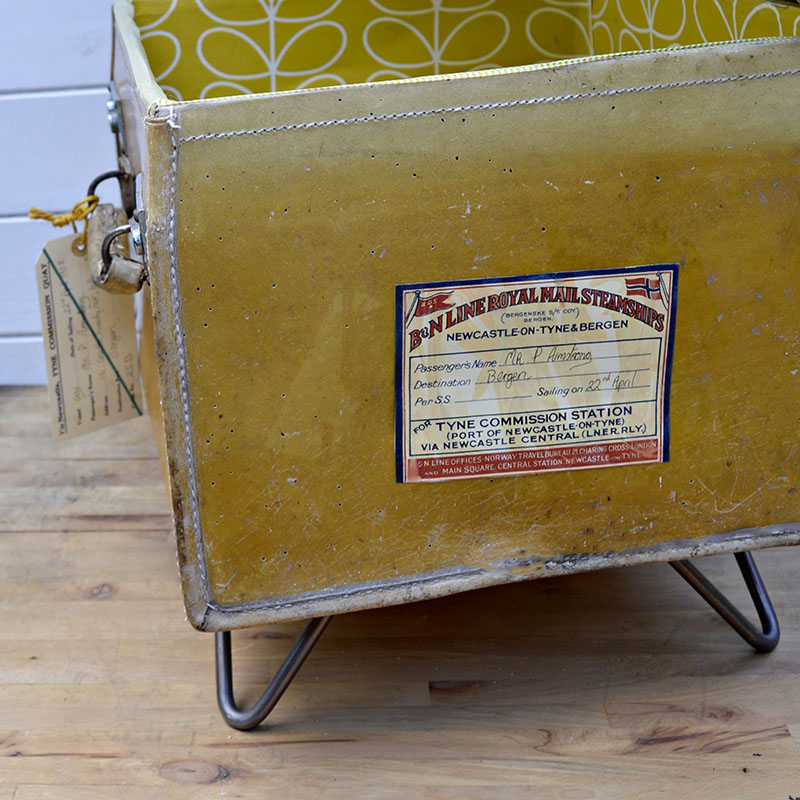Upcycled vintage suitcase side table - with free luggage label printables.