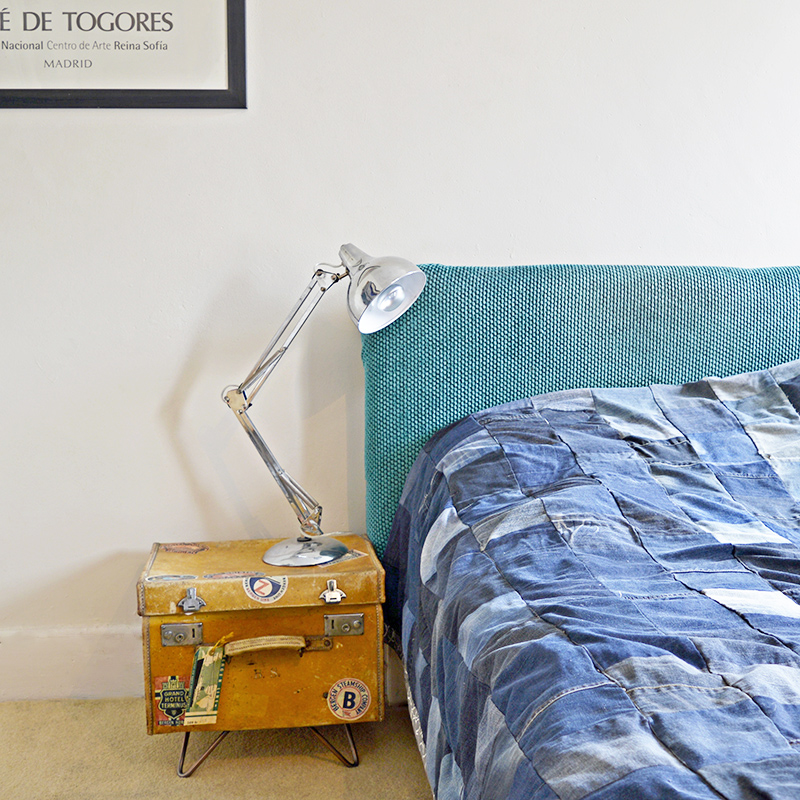 Upcycled vintage suitcase side table with free luggage label printables.