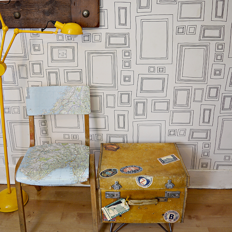 Upcycled suitcase side table - Pillarboxblue.com