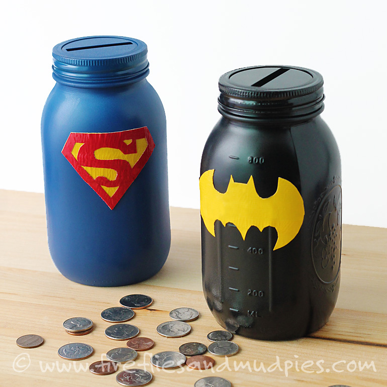 Superhero Mason Jar Money box