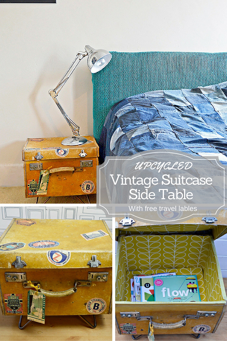 Upcycled Vintage Suitcase Side Table. This Tutorial Includes A Free  Download Of Vintage Travel Stickers