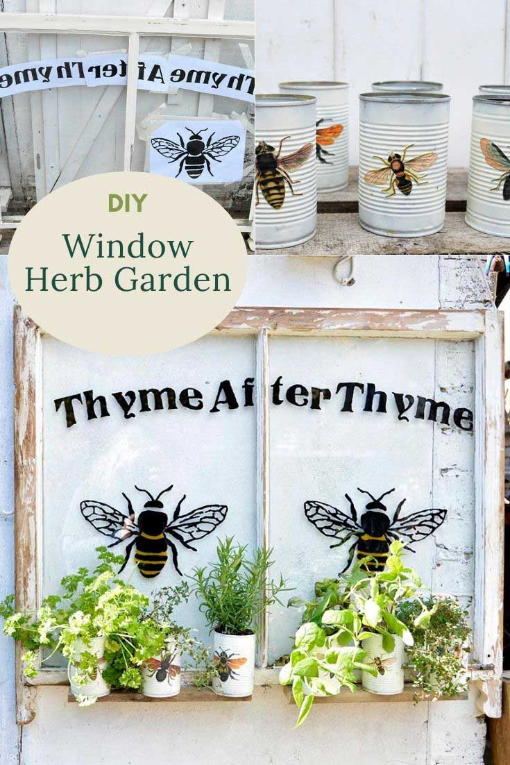 upcycled window herb garden