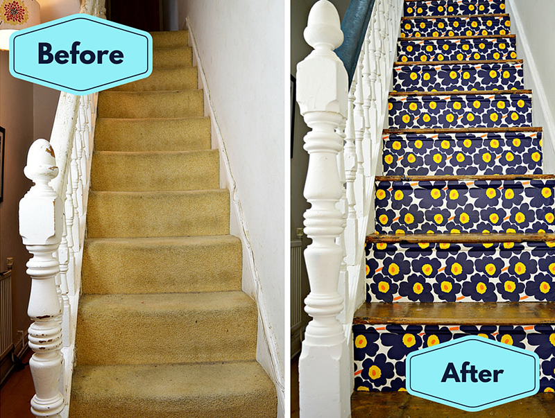 Marimekko Stairs Transformation - Full step by step tutorial.