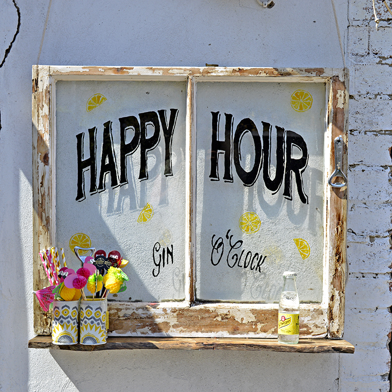 Happy Hour Upcycled Window - Pillarboxblue.com
