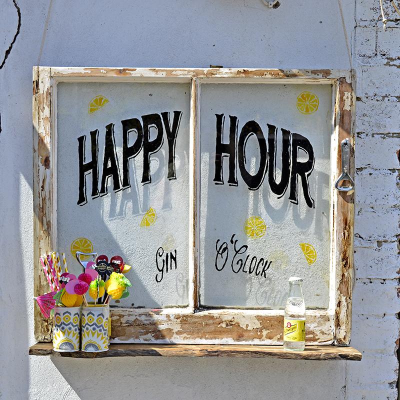 Happy Hour Upcycled Window - Pillarboxblue.com