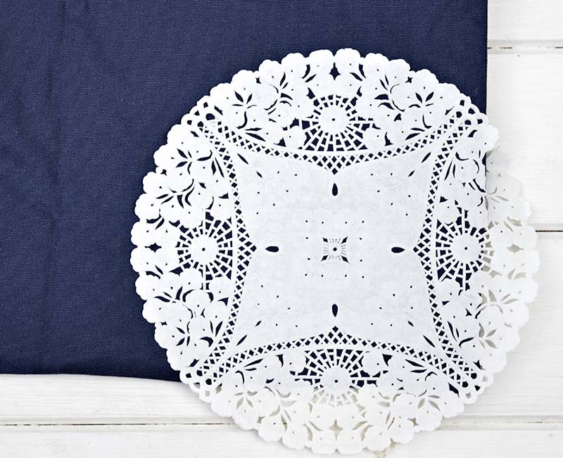 Doily Stencilling a cushion / pillow