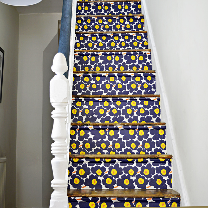 Marimekko Stairs - Full tutorial on how to transform your stairs with wallpaper.