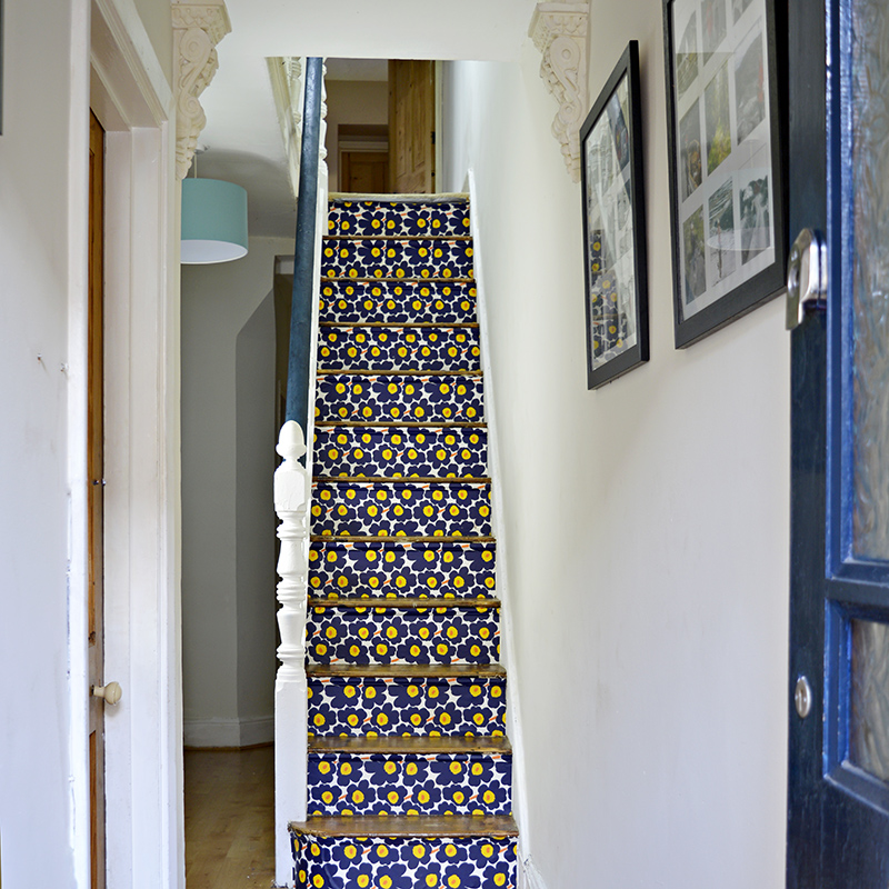 Transform your stairs with wallpaper full step by step tutorial for Marimekko Stairs