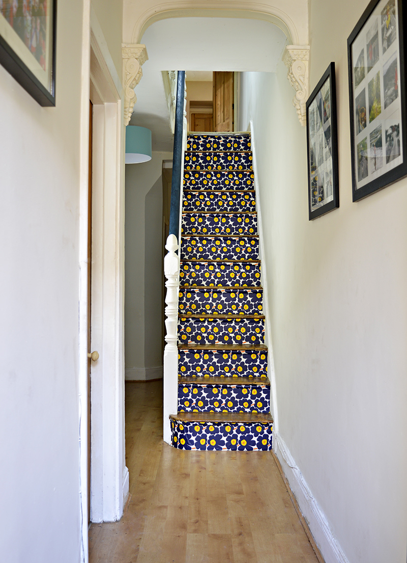 Marimekko Stairs - Transform you stairs with wallpaper step by step tutorial