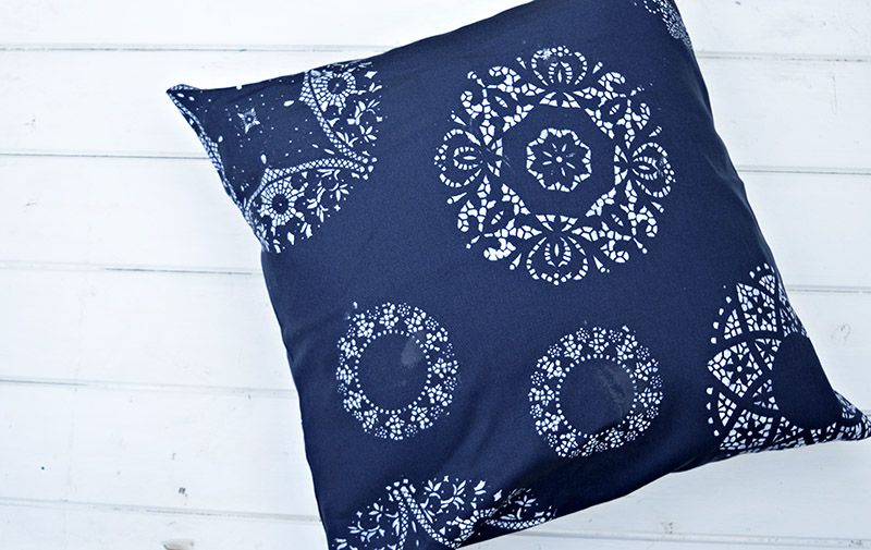 Stenciled doily cushion / pillow.