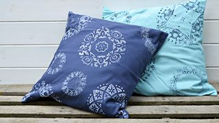 Fun and easy to do doily stenciled cushions.