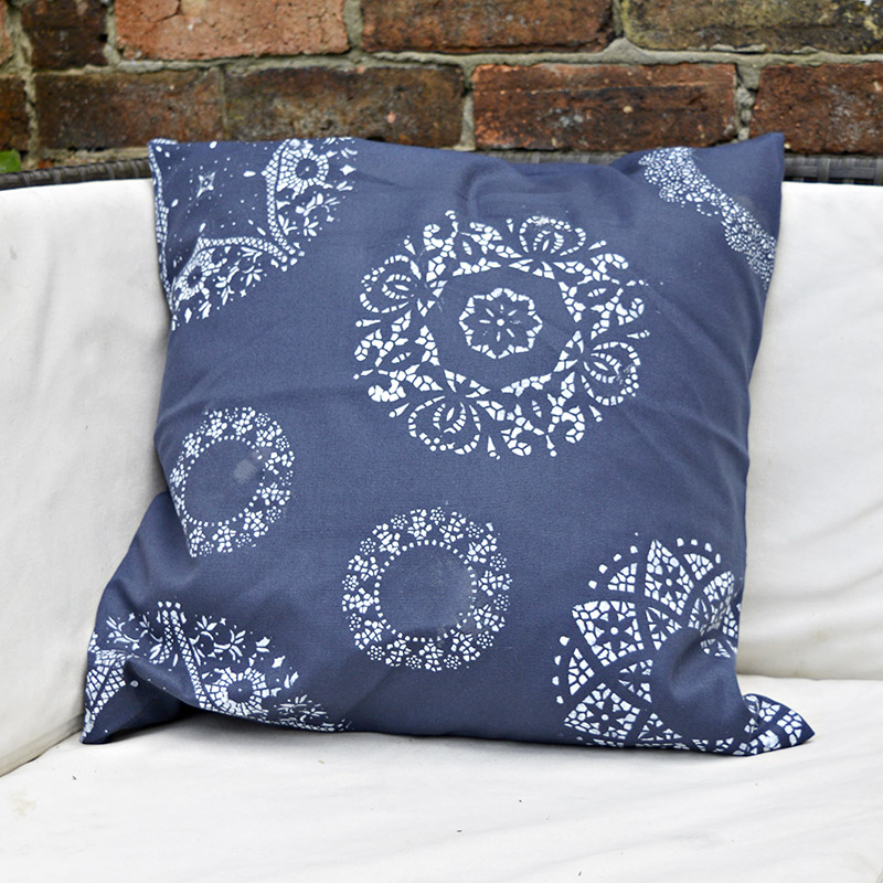 Doily stencilled cushion, really easy to do for great results.