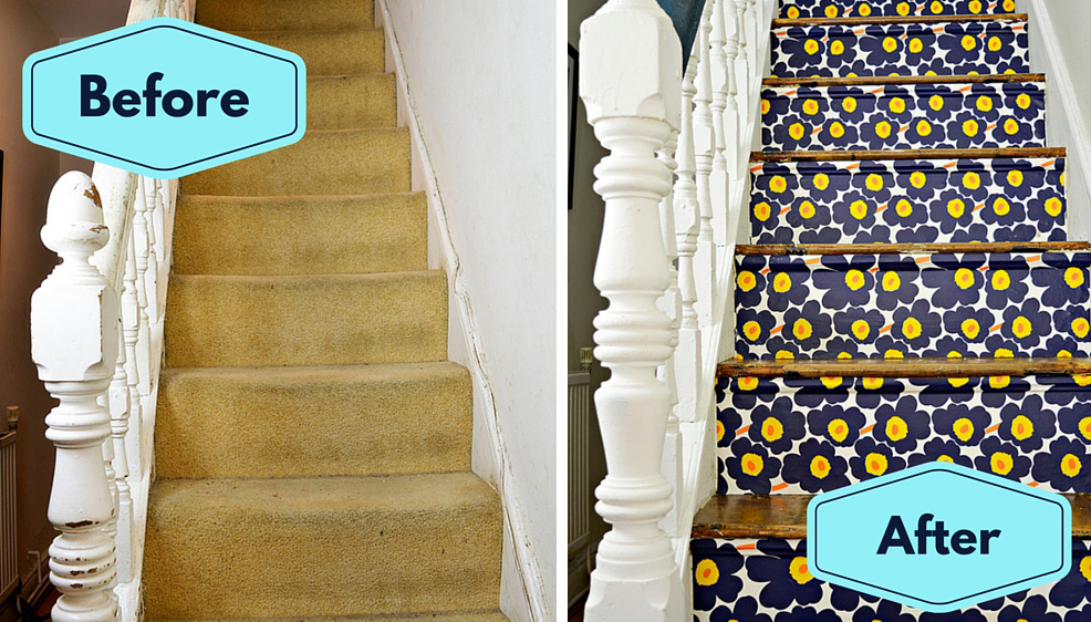 Marimekko Stairs - Transform your stairs with wallpaper step by step tutorial