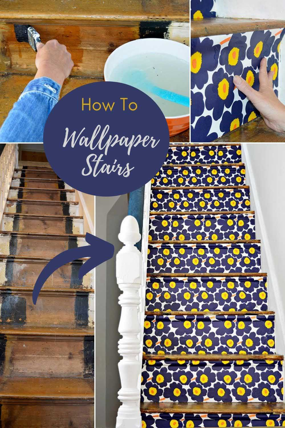 Marimekko wallpapered stairs