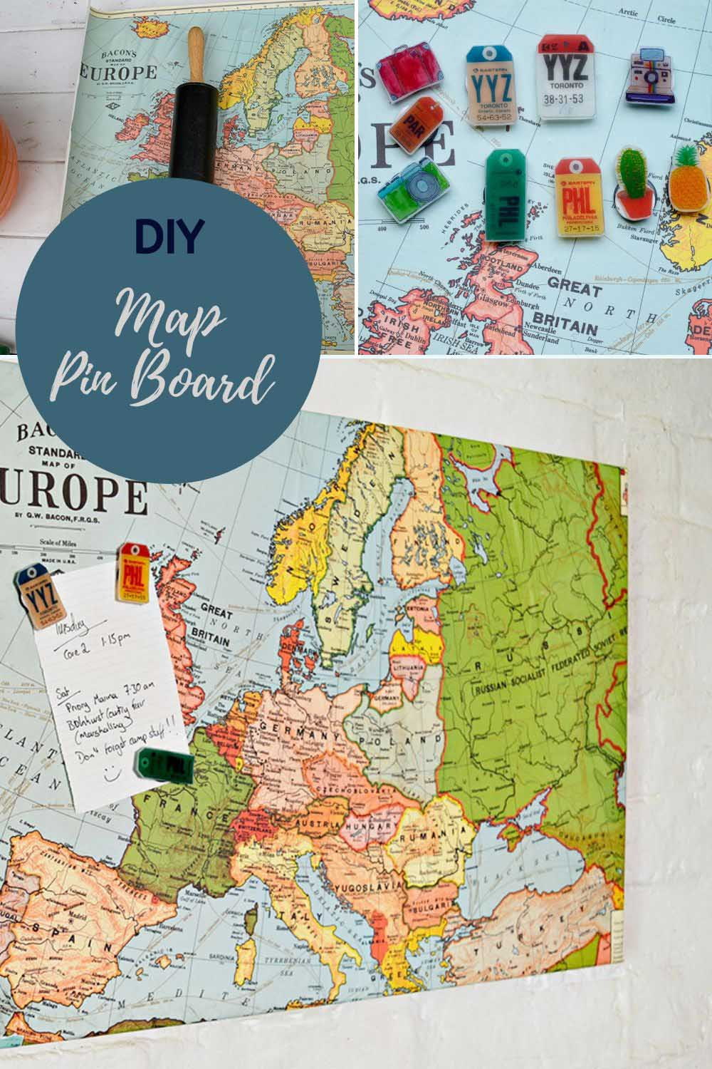 DIY Map magnetic pin board