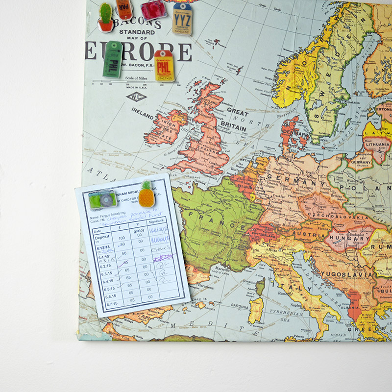Upcycled map magnetic pin board and shrink plastic pins