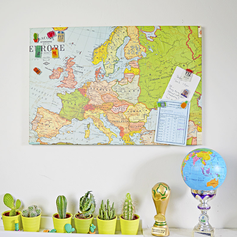 Upcycled Mpa magnetic board and shrink plastic magnetic travel pins