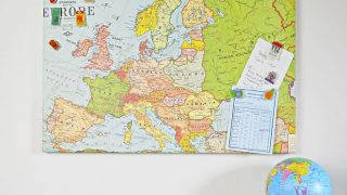 Upcycled Map Magnetic board and shrink plastic travel pins