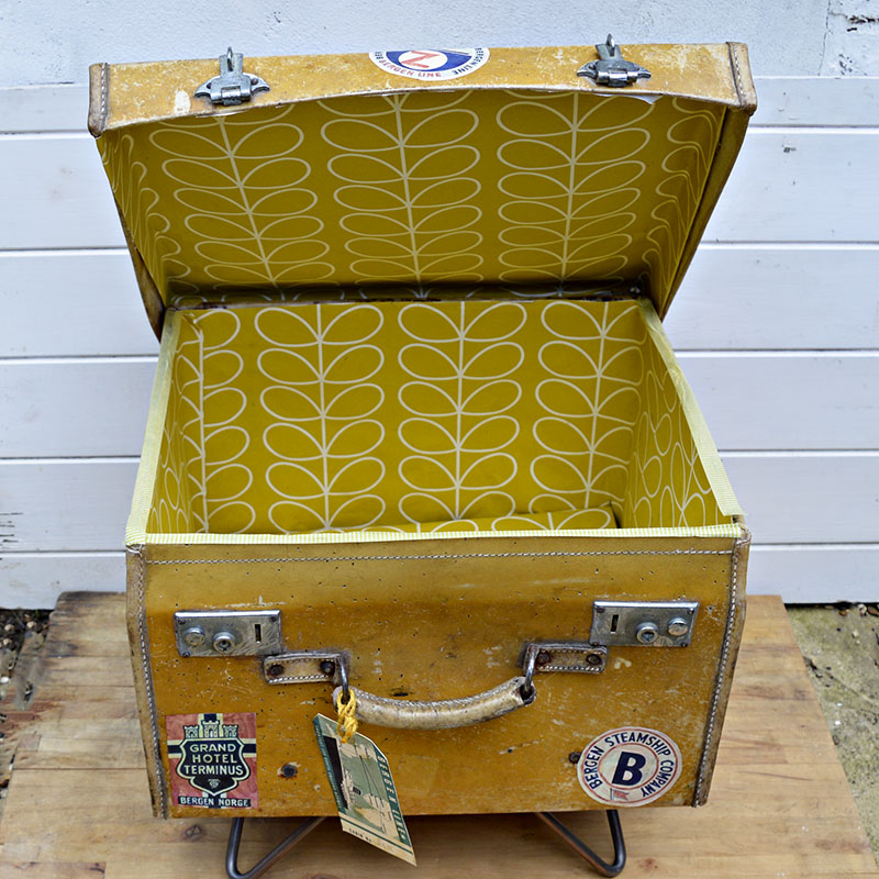 12 Great Orla Kiely Crafts - Vintage suitcase upcycled with Orla Kiely wallpaper for a great vintage look.