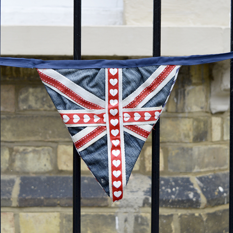 Upcycled Denim bunting Union Jack.  there is also a Stars and Stripes version on the blog