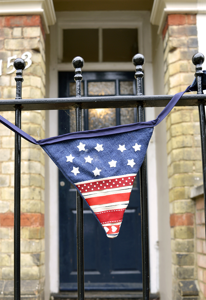 Upcycled denim bunting Stars and Stripes.