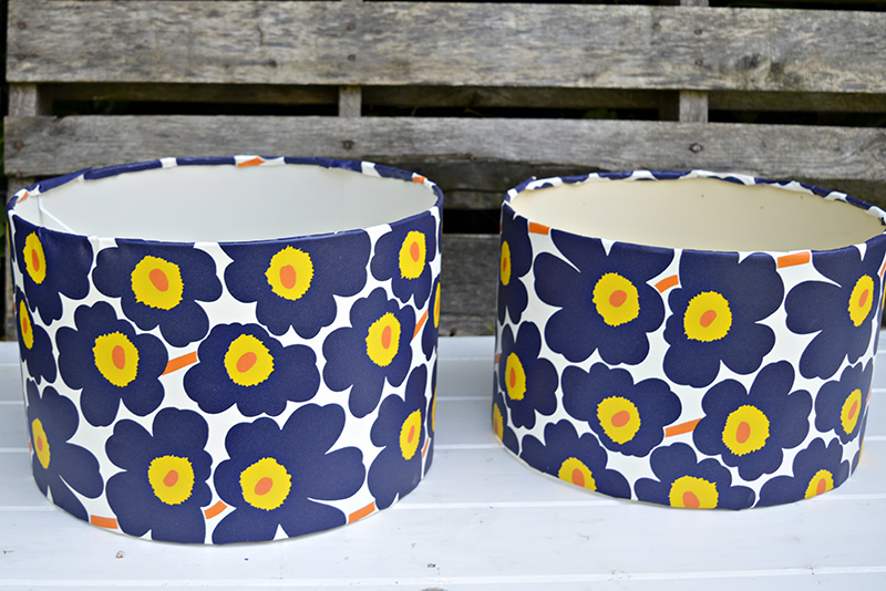 Update some tired looking lampshades with wallpaper