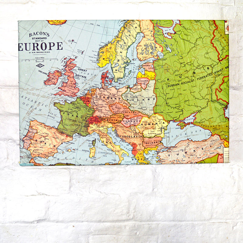 Upcycled Map Magnetic Board