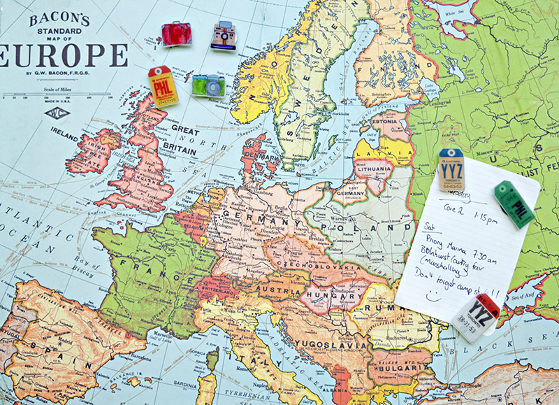 Upcycled map magnetic board pins pillar box blue map magnetic pin board and travel pins sciox Choice Image