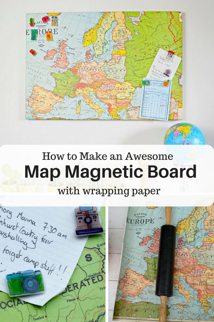 Upcycled Map Magnetic Board and Pins Pillar Box Blue – Magnetic Travel Map