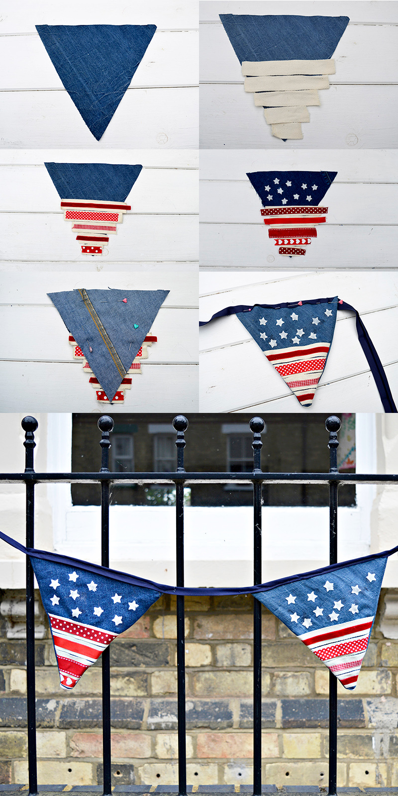 Upcycled Denim bunting stars and stripes