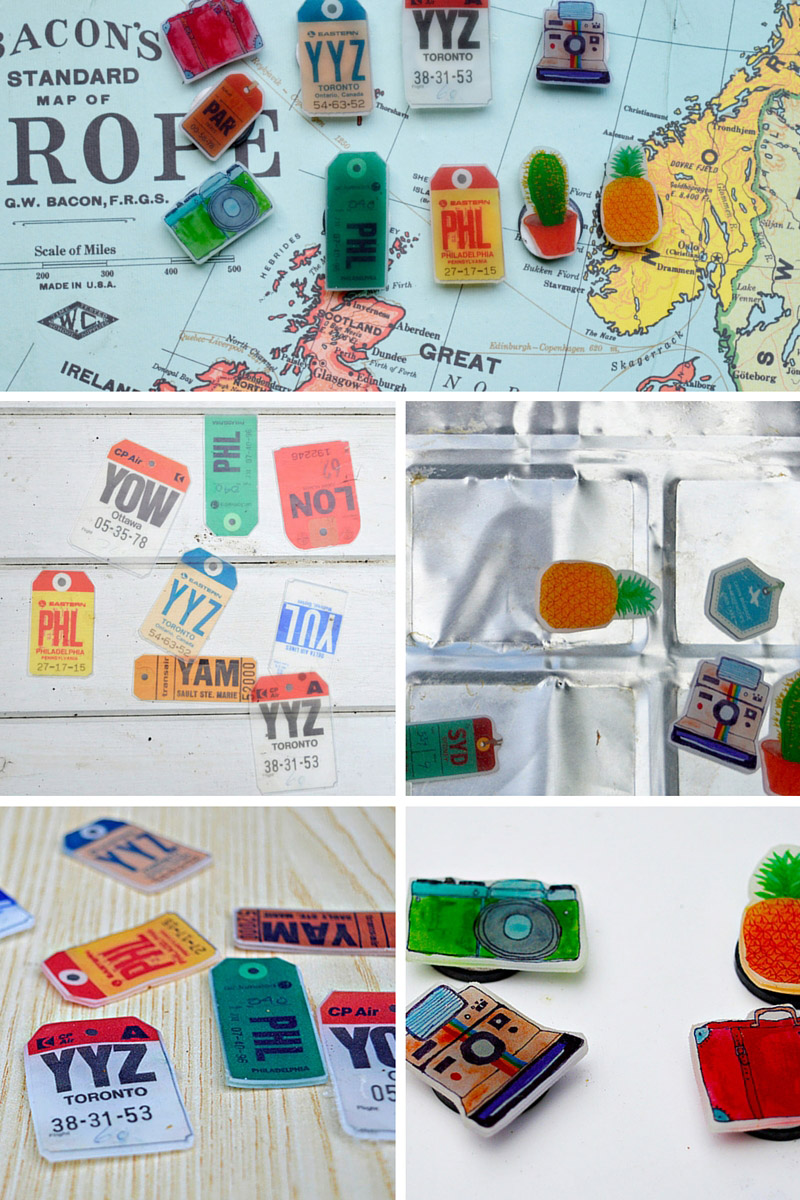 Upcycled Map Magnetic Board Pins Pillar Box Blue - Make a trip map