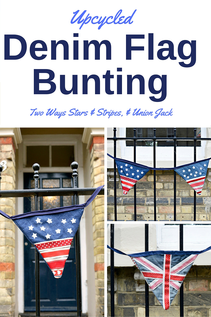 Flag Upcycled Denim Bunting 2 ways.  Make this patriotic flag bunting from old jeans and ribbons.  Two versions the Union Jack and the Stars and Stripes for the 4th of July.