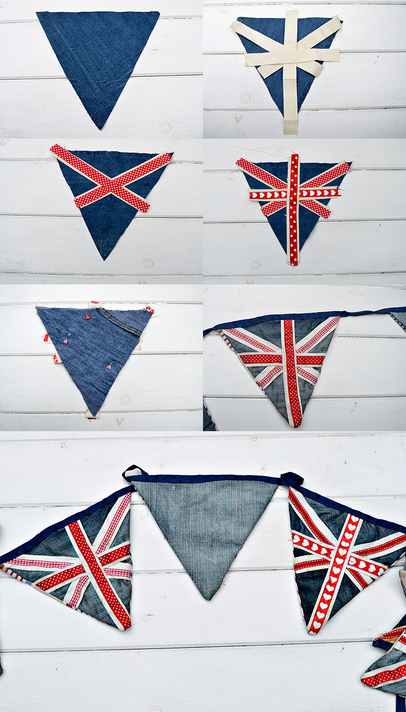 Upcycled denim bunting Union jack