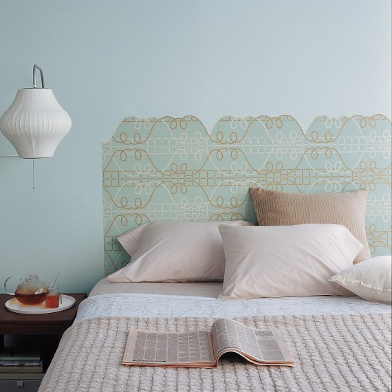 Creative wallpaper uses - Headboard to add glamour to your bedroom.