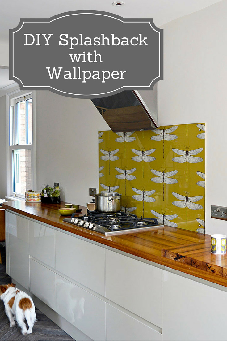 Design Ideas Kitchen Splashbacks ~ Diy splashback using wallpaper pillar box blue